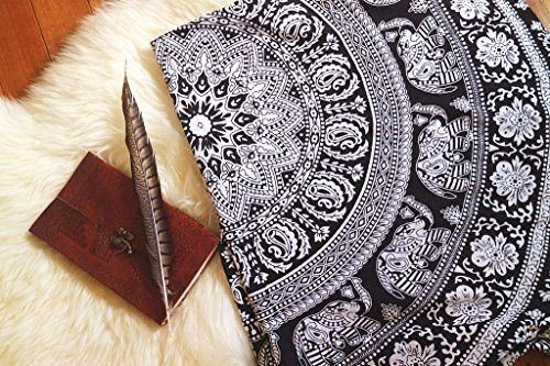 Tapestry Twin Black and White Hippie Elephant Mandala Tapestry Indian Beach Wall