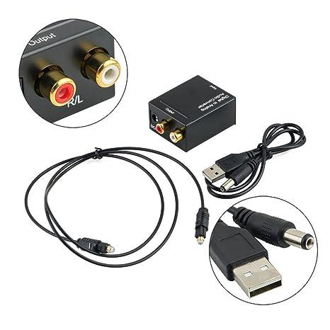 Detectoy Adaptador de Señal Toslink Coaxial Digital óptico a Analógico Convertidor de Audio RCA Convertidor de