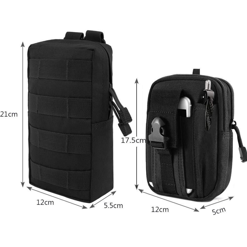 ZAYOO Paquete de 2 Bolsas Molle Tactical Compact EDC Pouch Paquetes de Herramientas Multiusos Resistentes al Agua