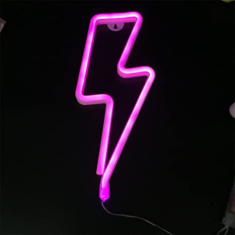 Zehui Led Lightning Neon Decorative Lights Romantic Thunder Shape ...