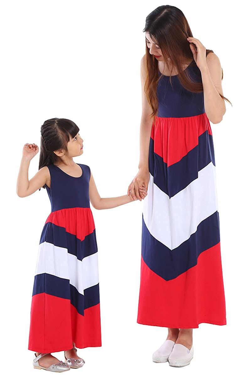 VduanMo Mother Daughter Stripe Stitching Dress Family Look Clothes VDM-614