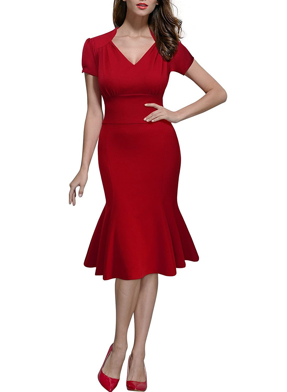 Miusol Damen Sommerkleid V-Ausschnitt Kurzarm 1950er Retro FishtailBüro Cocktail Kleid