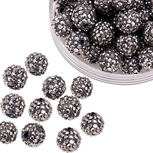 Pandahall 100 Pcs 10mm Hematite Shamballa Pave Disco Ball Clay Beads, Polymer Clay Rhinestone Beads Round Charms Jewelry Makings