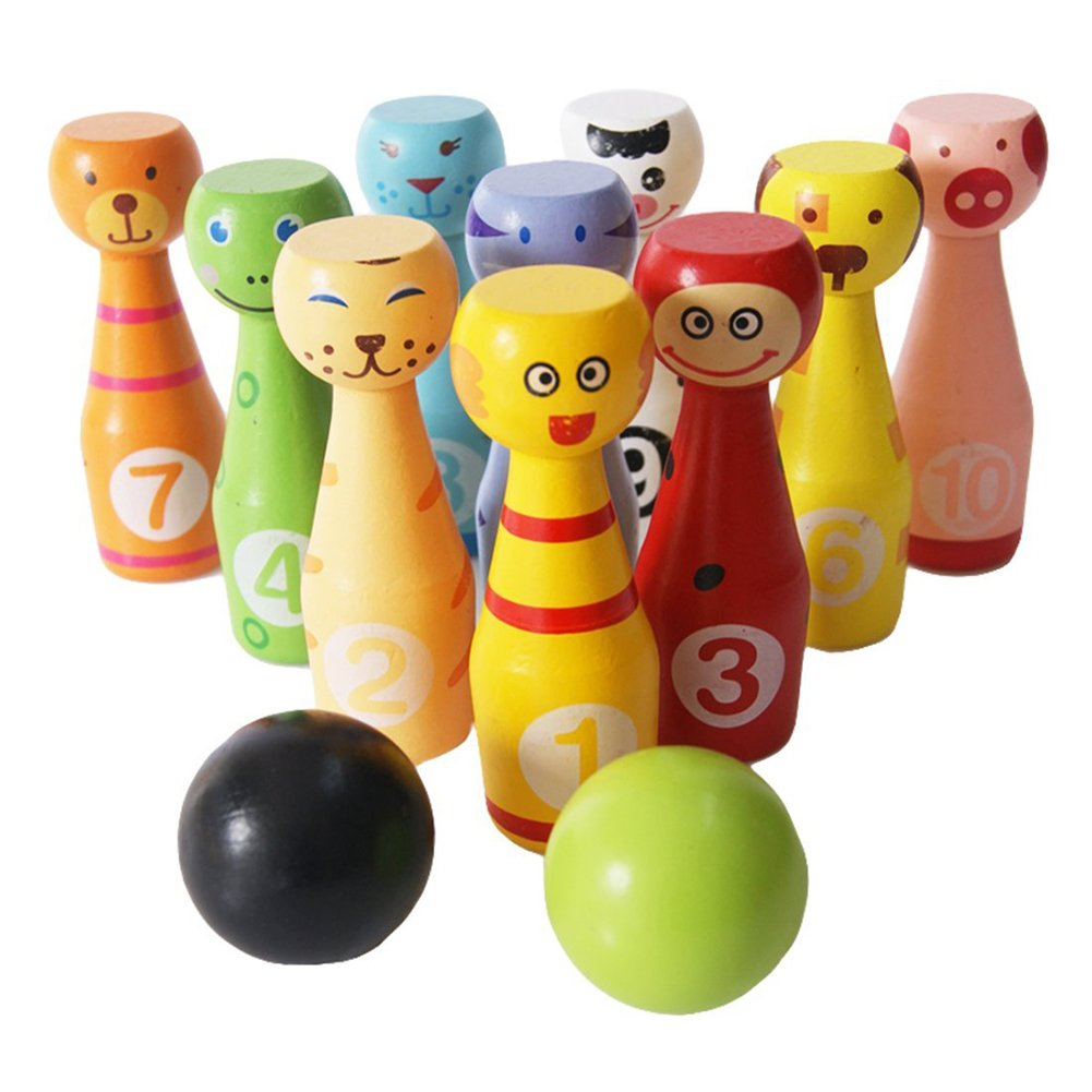 BUYITNOW Wooden Bowling Set Game with 10 Pins and 2 Bowling Balls Kids Animal Bowling Toys