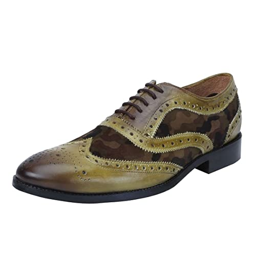 7e32667f8de4 Brune Unisex Olive Leather Formal Shoes - 6  Buy Online at Low Prices in  India - Amazon.in