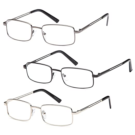 e455a974da0 GAMMA RAY 3 Pairs Rectangle Stainless Steel Metal Reading Glasses - 1.00x