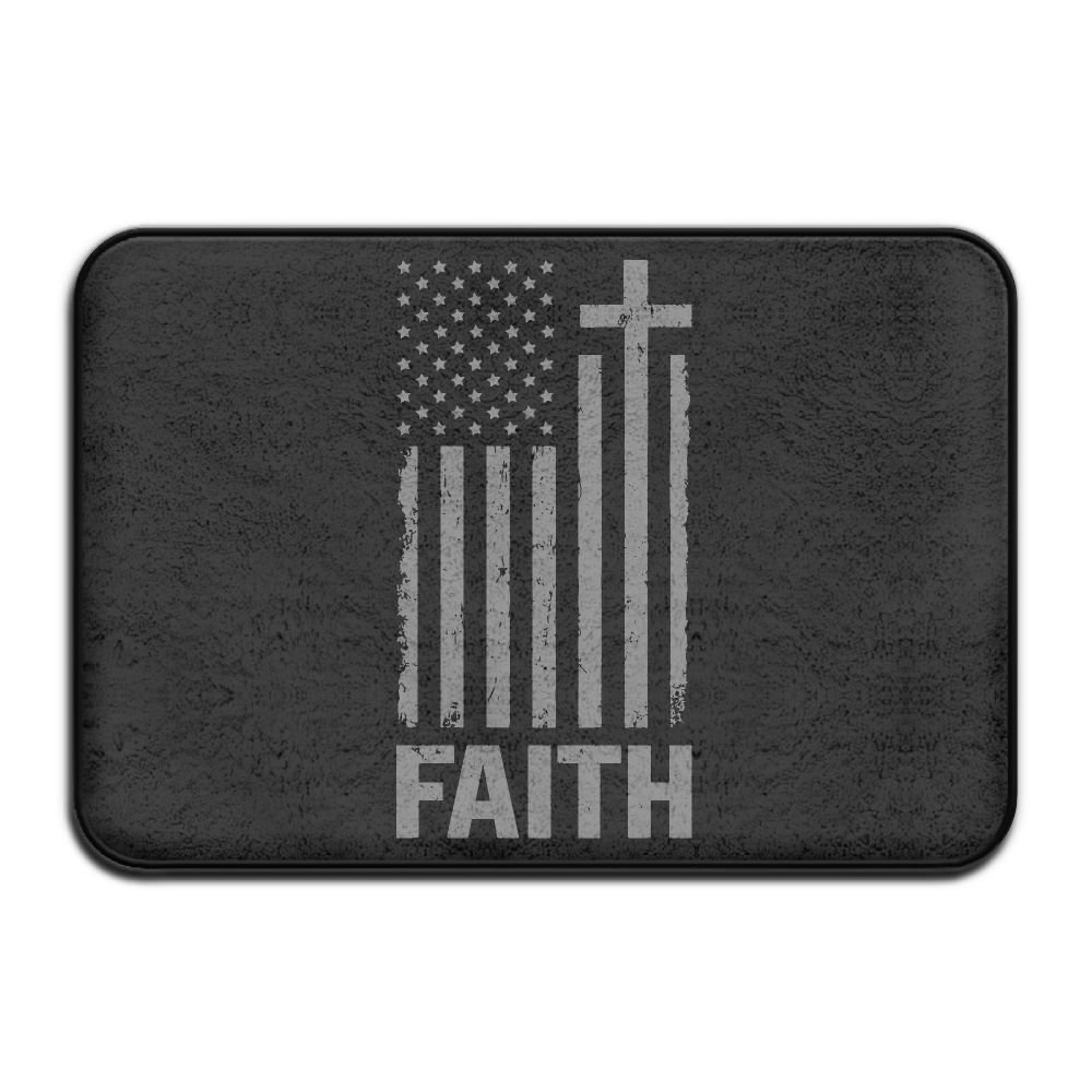 Christian Distressed White USA Flag Antislip Outdoor Floor Mat Pet Feeding Rug by Mat_Rug&