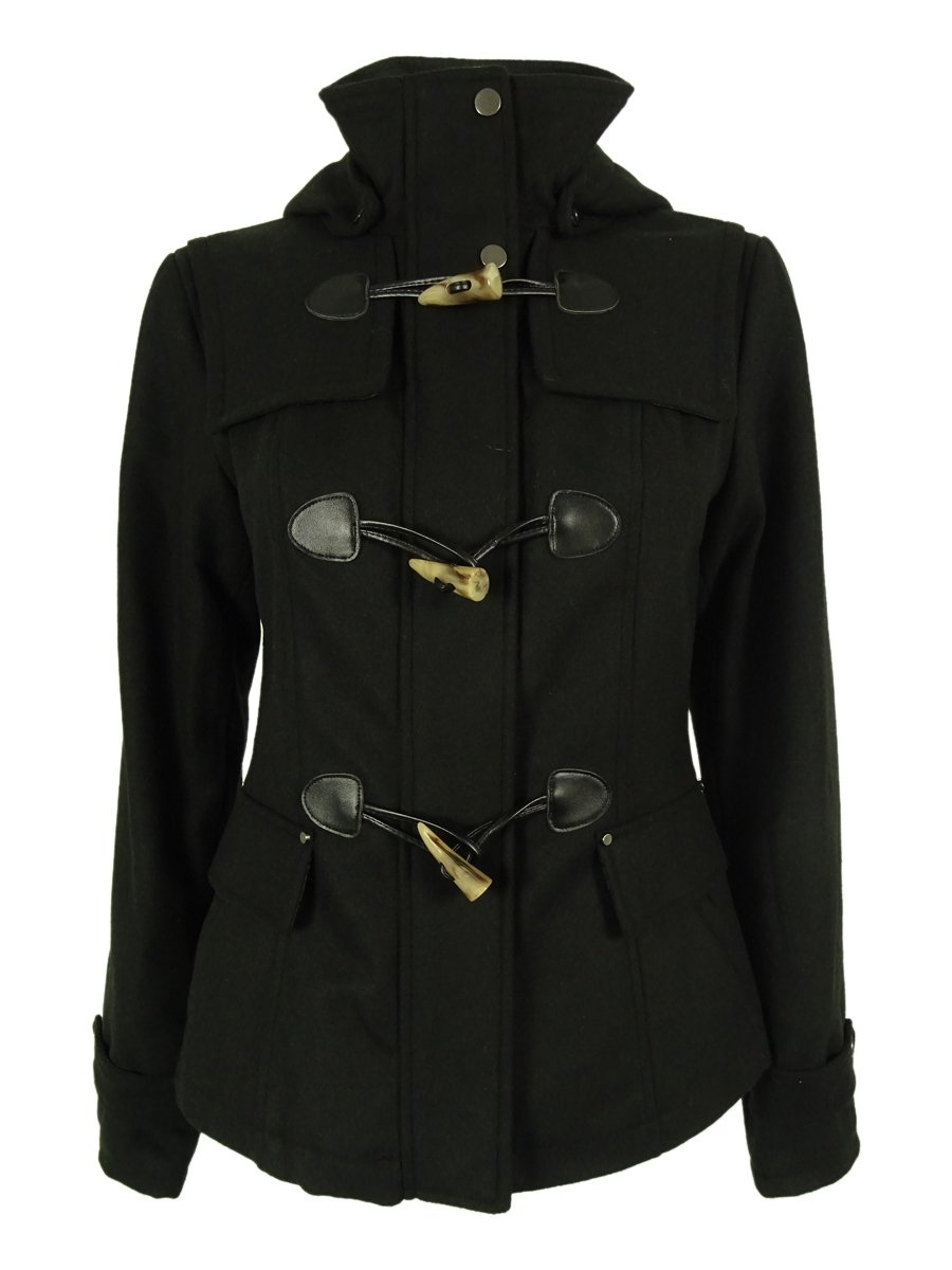 Celebrity Pink Juniors Hooded Toggle Peacoat (XL, Black)