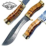 Beautiful Olive Wood 13″ Kukri Fixed Blade Handmade Damascus Steel Hunting Knife with 100% Prime Quality