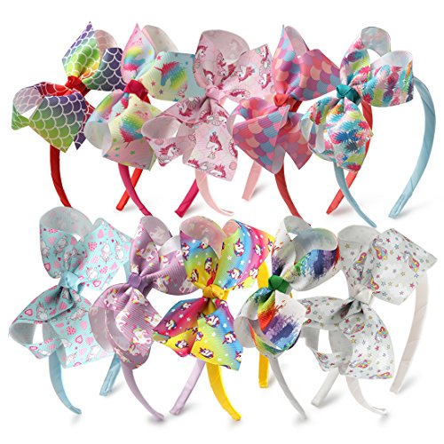 10pcs Unicorn Hair Bows On Headband Pineapple Girl Hairhoop Princess Dance Hairbands (Headbands Kids)