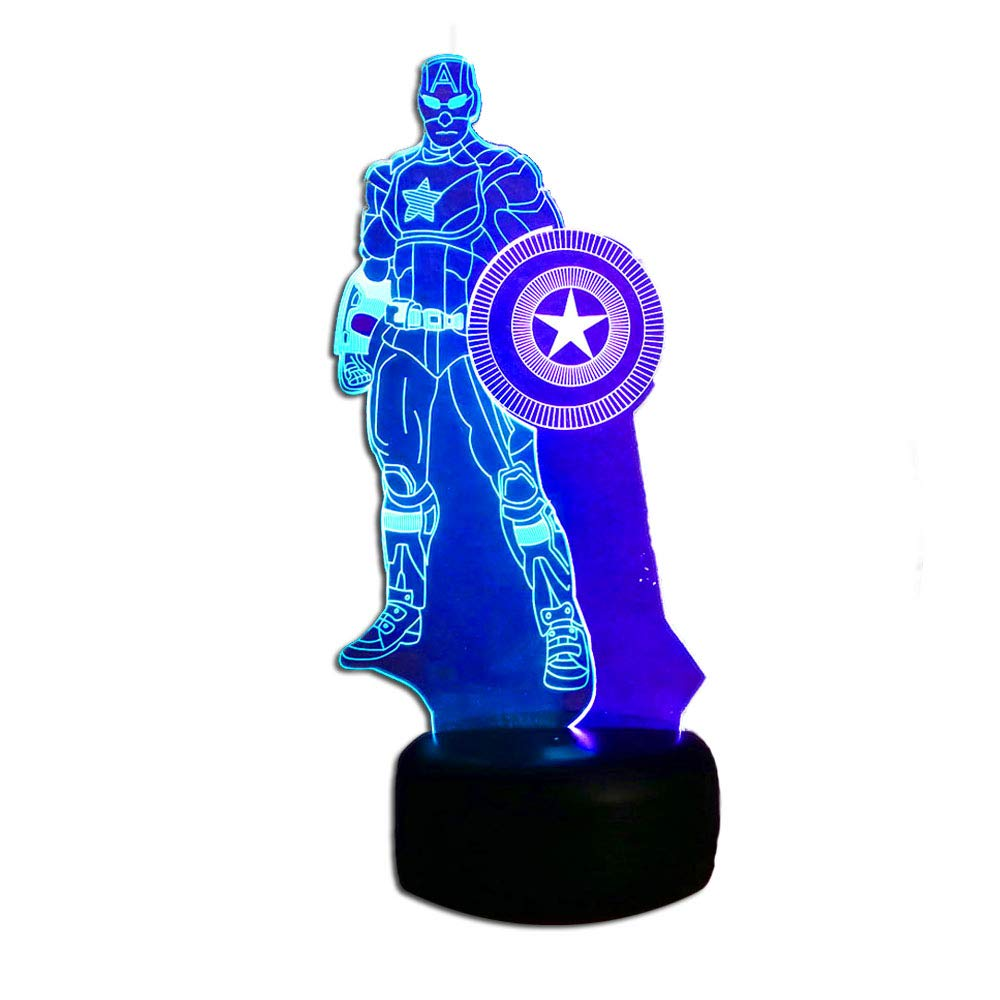 Double Mix Colors Marvel avengers superheroes Captain America - 3D LED Night Light -7 Colors change(Touch Control) - Christmas Table Desk Lamp Gifts Decor