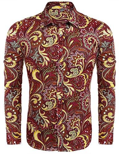 Modfine Men's Fashion Floral Print Button Down Casual Long Sleeve Hawaiian Retro Flower (Silk Long Sleeve Floral Print Shirt)