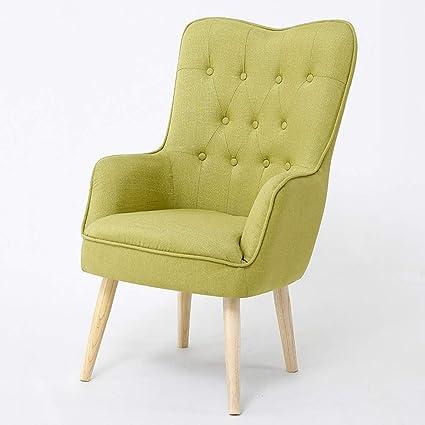 Amazon Com Wyy Single Armchair Linen Sofa Wood Sponge Seat Bedroom