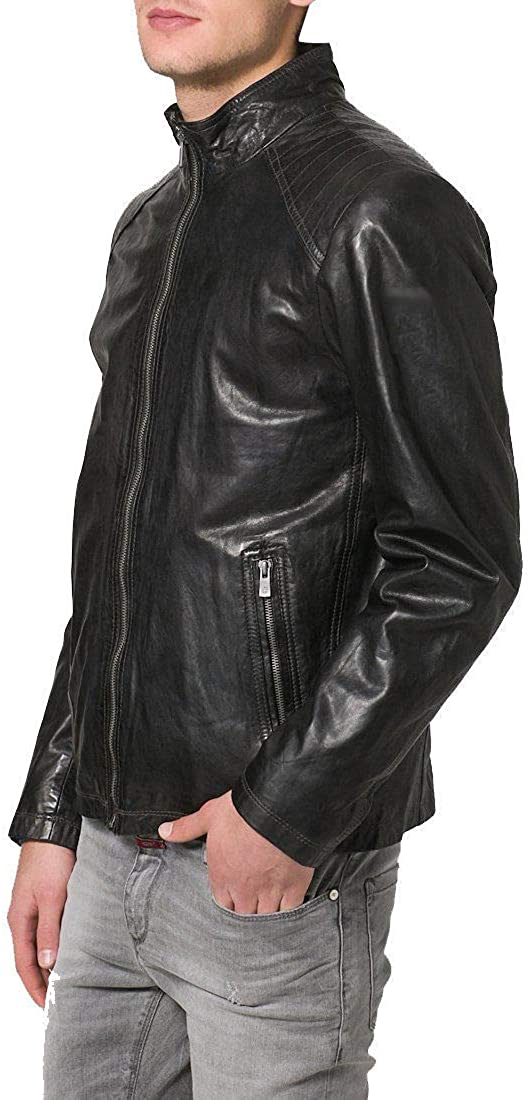 brandMe Mens Genuine Leather Pure Lambskin Biker Jacket MM117