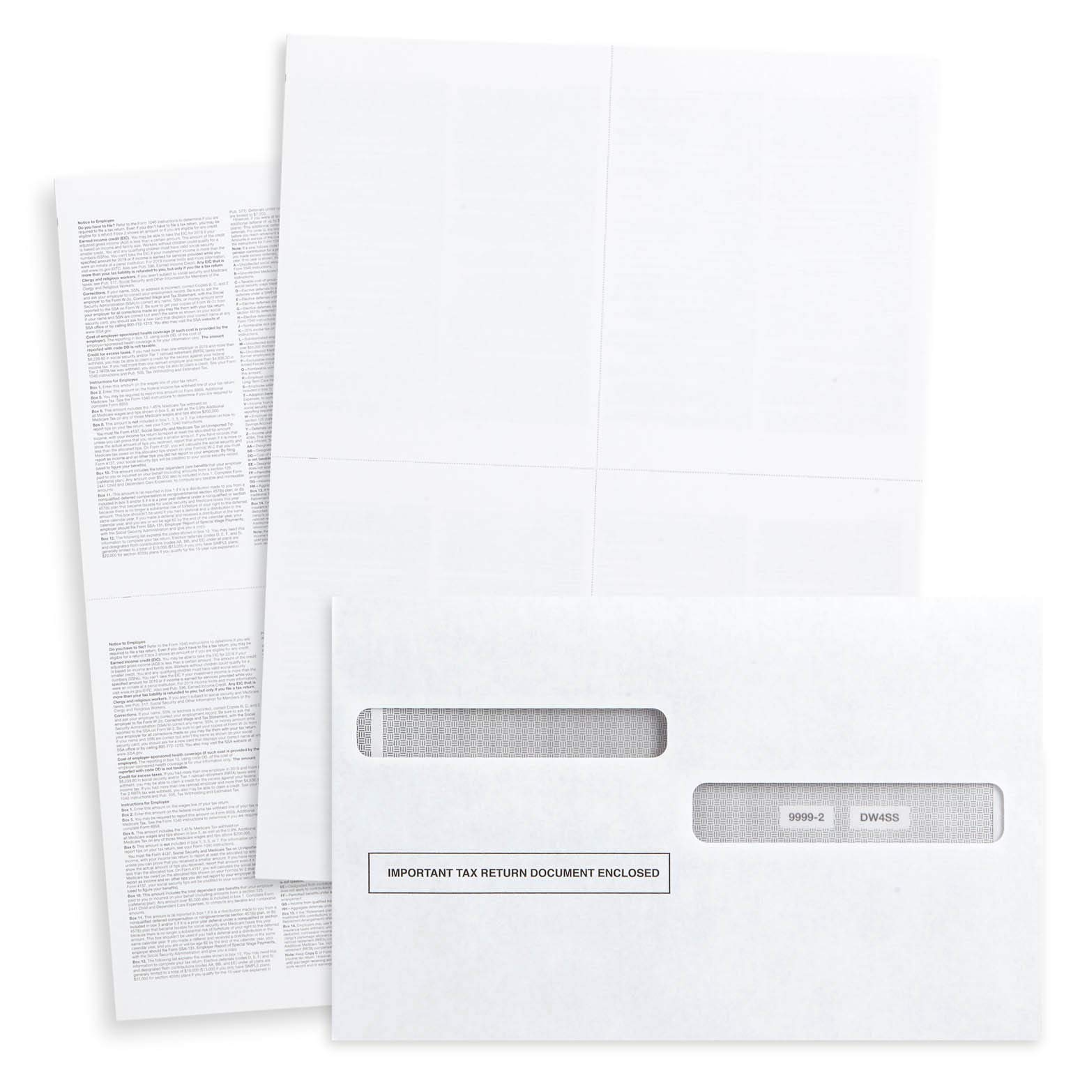 Blank 2019 W2 4-Up Tax Forms, 100 Employee Sets, Designed for QuickBooks and Accounting Software, Ideal for E-Filing, Works with Laser or Inkjet Printers, 100 Sheets and 100 Self Seal Envelopes by Blue Summit Supplies