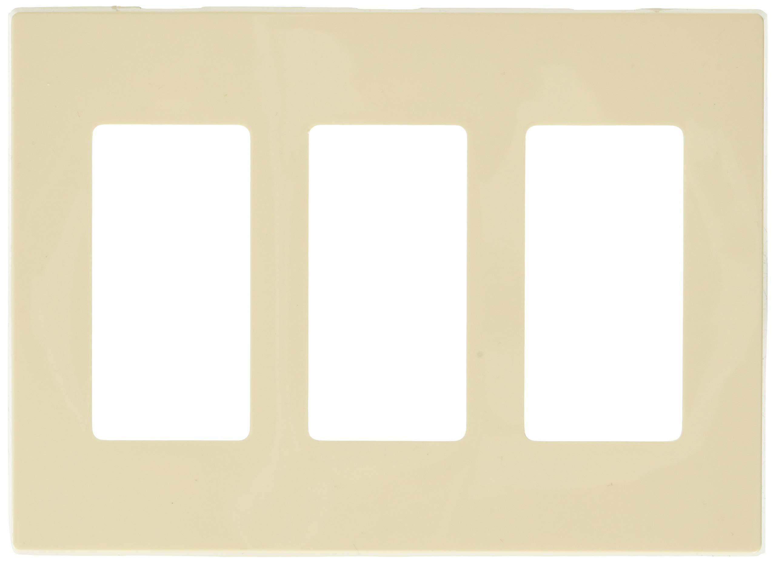 Leviton 80311-ST 3-Gang Decora Plus Screwless Snap-On Wallplate, Light Almond, 10-Pack