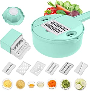 Vegetable Slicer and Grater Multi-function Chopper with Container, Spiralizer 12-In-One Manual Tool Food Processor(Green)