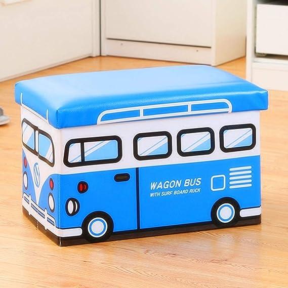 Kids Folding Ottoman Storage Seat Toy Box Small Wagon Bus