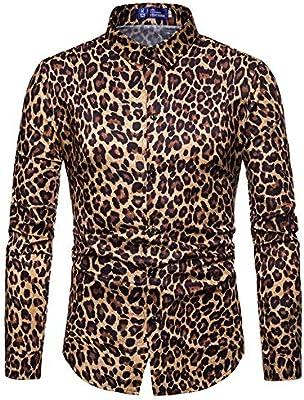 Susulv-MCL Camisa de los Hombres Hombres Leopardo Vintage Print Fit Cuello de Solapa de Manga Larga con Botones Abajo Camisa de Caballero para Discoteca Fiesta Banquete Discoteca Camisas Casuales: Amazon.es: Hogar