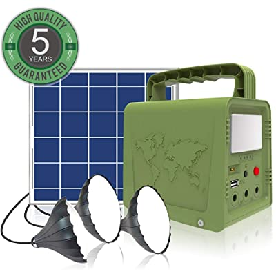 WAWUI Portable Power Station 42Wh, Solar Generator with Solar Panel & Flashlights for Home Emergency Backup Power, Camping Lights with Battery, USB DC Outlets, for Travelling Fishing Hunting : Garden & Outdoor