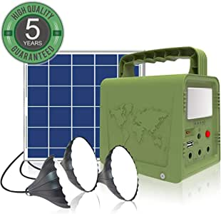 WAWUI Portable Power Station 42Wh, Solar Generator with Solar Panel & Flashlights for Home Emergency Backup Power, Camping Lights with Battery, USB DC Outlets, for Travelling Fishing Hunting