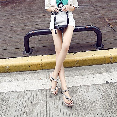 Chanclas de Zapatos de Bohemias Mujer Grey Verano Koyi Nuevas Sandalias xYWFnAXg
