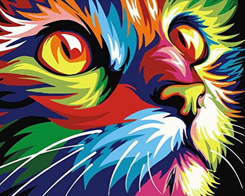 Abstract Cartoon Animals DIY Digital Oil Painting Paint by Number Kit on Canvas with Acrylic Paints for Adults and Kids (Unframed, Colorful Cat)