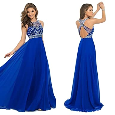 Dolland Womens Scoop Neckline Beaded Long Prom Dresses Halter Back Cross Straps Evening Gown,Navy