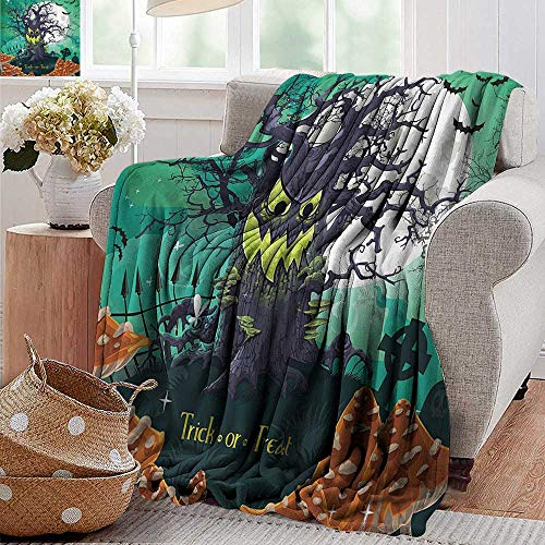 PearlRolan Cool Blanket,Halloween,Trick or Treat Halloween Theme Dead Forest with Spooky Tree Graves Big Mushrooms Kids Cartoon,Multi,300GSM,Super Soft and Warm,Durable Throw Blanket 60