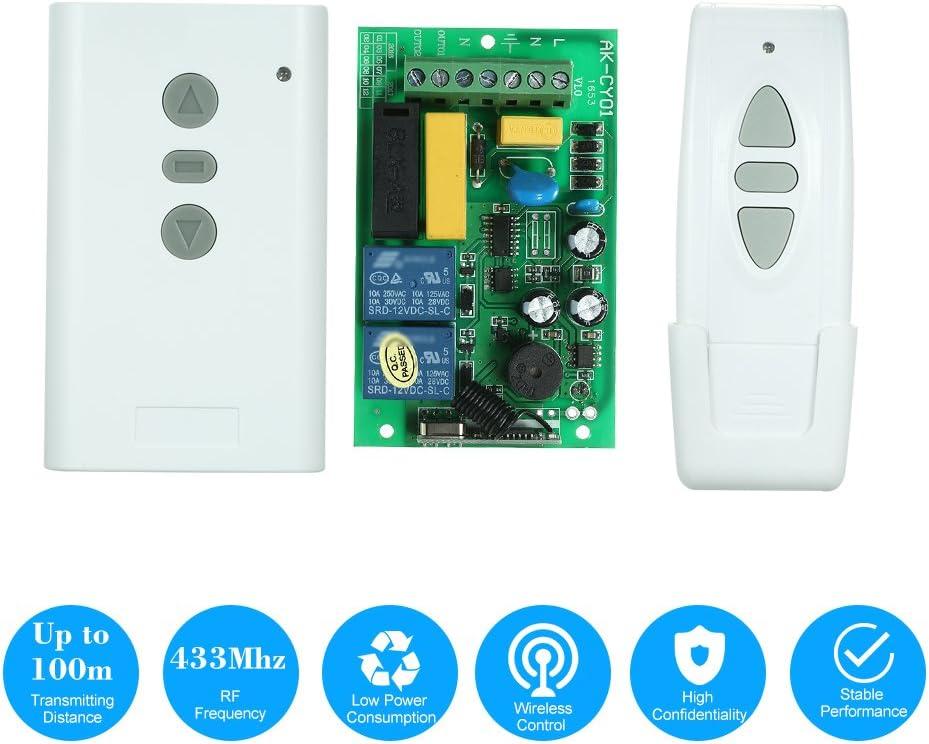 OWSOO 1PCS 2CH Receptor Inalámbrico + 1PCS Interruptor de Control Remoto Inalámbrico, AC220V 433MHz 1527 Chip, para Pantalla de Proyección, Eléctrica Puerta de Garaje, Cortina Electrica, ect