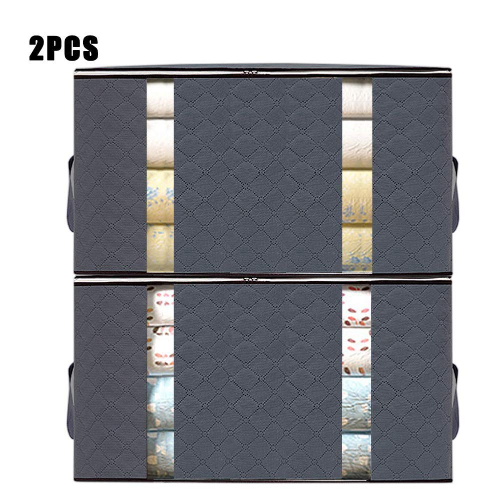 AUOTO Large Capacity Clothing Storage Bag Organizer, 2 Pack Foldable Storage Bags with Double Zippers, for Comforters, Large Clear Window & Portable Handles, Great for Clothes, Blankets, Closets(Gray)