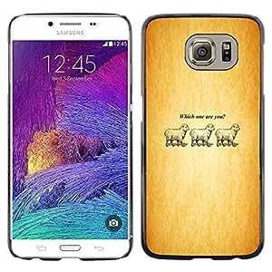 Samsung Galaxy S6 - Metal de aluminio y de plástico duro Caja del teléfono - Negro - Which One Are You - Lamb - Funny