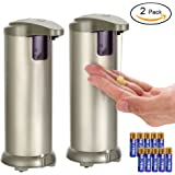 2 Pack Automatic Soap Dispenser with Batteries, LYPULIGHT Stainless Steel Touchless Sensor Soap Countertop Handfree Sensitive Auto-soap With Rubber Waterproof Base for Kitchen 250ML