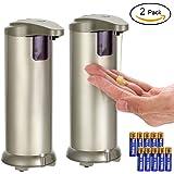 Dispensador de jabón Automático, LYPULIGHT Inoxidable Dispensador de jabón liquido com Impermeable base y recubrimiento resistente a huellas dactilares para baños (paquete de 2)