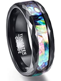 Vakki 8mm Menu0027s Abalone Shell U0026 Polished Black Faceted Tungsten Carbide Rings  Wedding Bands Size 5