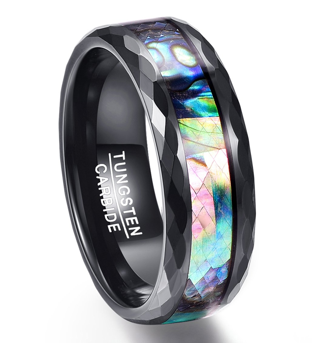 Vakki Classic Unisex 8mm Abalone Shell Inlay Black Faceted Promise Rings for Men Polished Edge Size 11