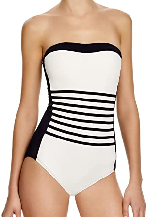 141b2e241482b Image Unavailable. Image not available for. Color: DKNY Swimwear A-Lister  Striped Bandeau One Piece Swimsuit Black ...