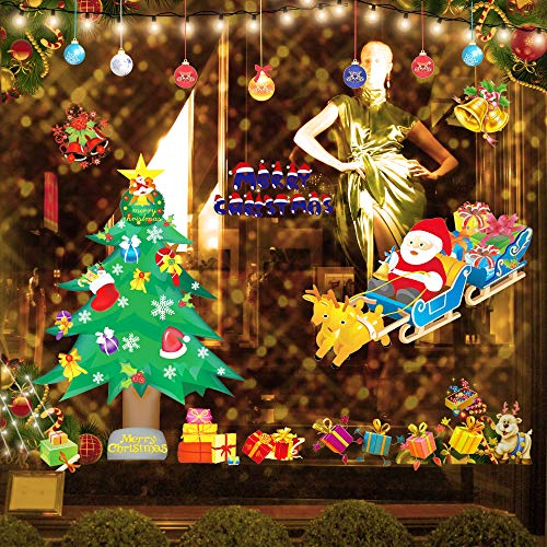 Christmas Decoration Clearance Window Clings Tree Santa Claus Gifts,etc, DIY Beautiful Picture Stickers in Wall Window Door,Party Festival Supplier for -