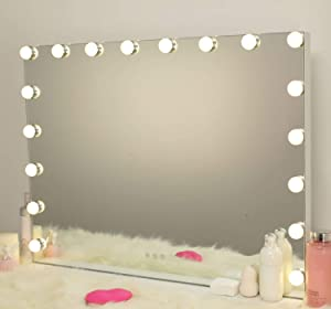 AMST Vanity Mirror with 18pcs Dimmable Bulbs, Hollywood LED Makeup Mirror with Touch Screen Switch, 3 Color Changing Light & USB Port, Large Cosmetic Vanity Mirror,L31.5 X H23.62 Inch