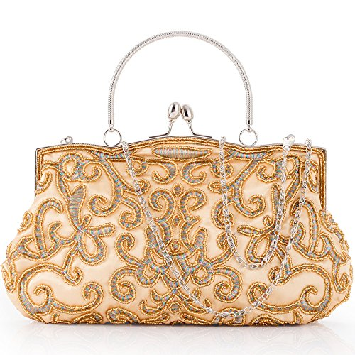 LONGBLE Evening Bag Clutch Women's Vintage Style Beaded Wedding Party Handbag Purse Kissing Lock Gold Beaded Gold Bag
