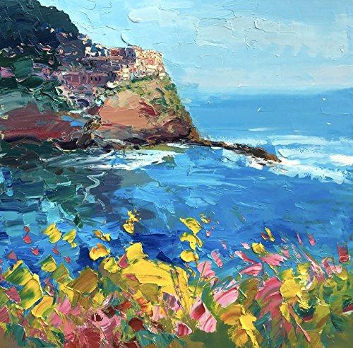 Manarola Cinque Terre Italy Prints Seascape Canvas Wall Art Coastal Artwork Modern Home Decor Living Room Picture Gifts