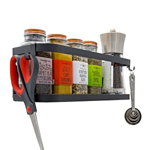 Magnetic Fridge Spice Rack Organizer [1-Tier with 2x Utility Hooks] - Mounted Jar Container Storage, Utensil Holder, Multi Use Kitchen Rack Shelf, Pantry Wall, Laundry Room, Garage. [Matte Black]