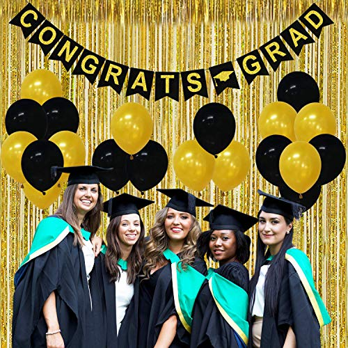 Congrats Grad Banner Graduation Party Decorations - Pack of 23| Gold Foil Fringe Curtain, Black and Gold Latex Balloons | Great for Graduation Party Backdrop Decorations| Graduation Party Supplies