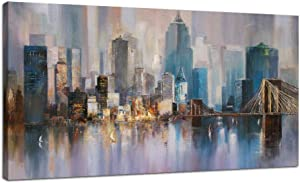 "Canvas Wall Art City Skyline New York Painting Prints Modern Brooklyn Bridge Colorful Abstract Cityscape Picture Stretched and Framed for Bedroom Home Office Living Room Decor, 48""x24"" One Panel"