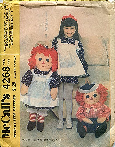 McCall's 4268 Vintage Sewing Pattern Raggedy Ann & Andy Stuffed Dolls