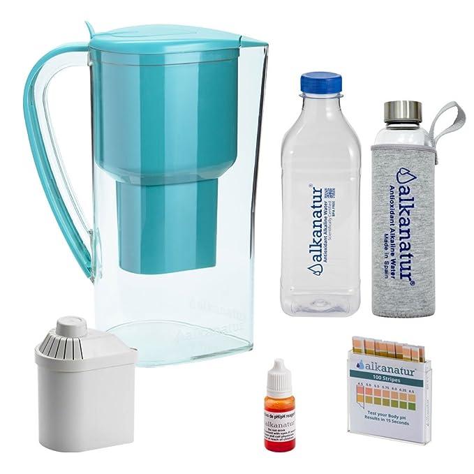 Alkanatur Jarra alcalinizar, depurar e ionizar Agua con Botella de Cristal Boro-silicato. Coste por litro 0,045€.: Amazon.es: Hogar