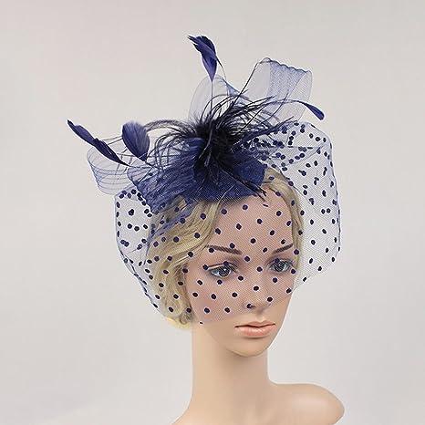 acquisto speciale famoso marchio di stilisti ultime versioni NUOLUX Cerchietto con piume e veletta(blu)