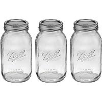 Ball Mason Regular Mouth Quart Jars with Lids and Bands, Set of 3