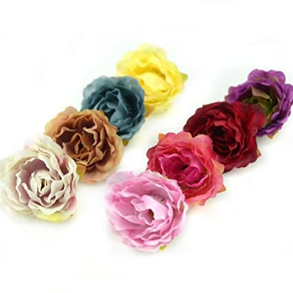 Amazon 100pcs Blooming Peony Cloth Artificial Flowers For