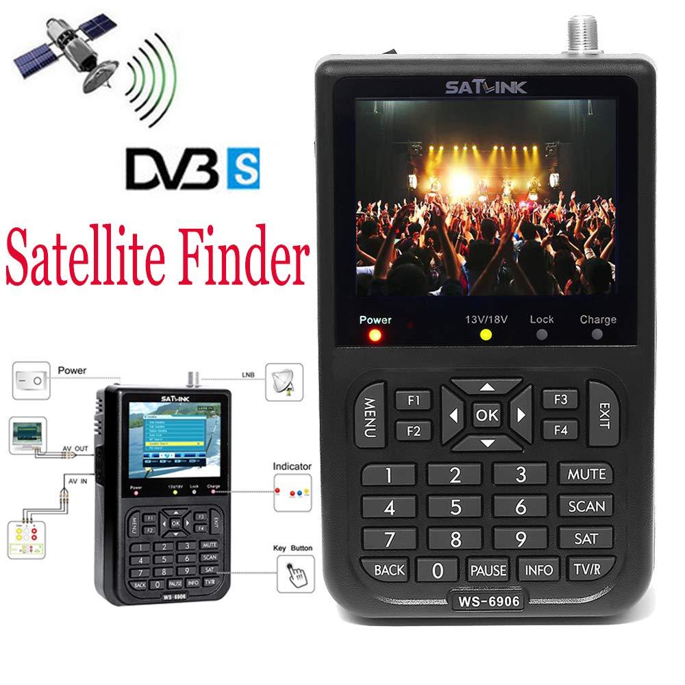 SATLINK Satellite Signal Finder Meter Digital TV Signal Receiver Detector with 3.5' LCD Display Support DVB-S & All FTA Digital Directv Dish Satellite Signal Meter(WS-6906) Satlink-WS6906
